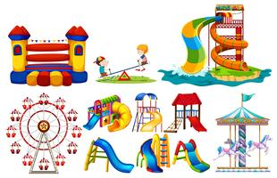 Verschiedene Spielstationen am Spielplatz vektor