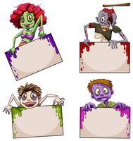 Zombies mit leeren Schildern vektor