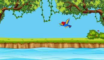 Vogelfliegen auf Naturhintergrund vektor