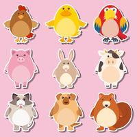Aufkleberdesign mit Nutztieren