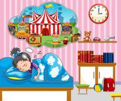 Tjej med god dröm i sängen vektor