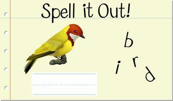 Sprich Englisch Wort Vogel vektor