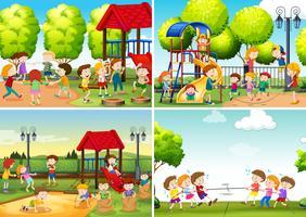 Eine Reihe von Kindern am Spielplatz vektor