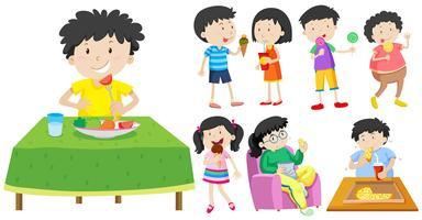 Barn som äter hälsosam och ohälsosam mat vektor