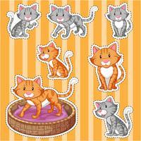 Aufkleber eingestellt mit niedlichen Katzen auf gelbem Hintergrund
