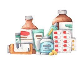 Sammlung von Medikamenten und Nahrungsergänzungsmitteln. Aquarellillustration. vektor