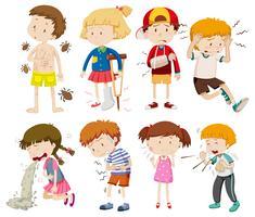 Eine Reihe von kranken Kindern