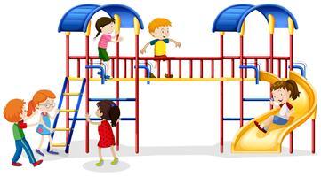 Viele Kinder spielen im Spielhaus vektor
