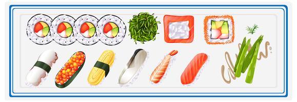 Japansk sushi satt på tallrik