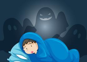 En pojke skrämmer av spöke vektor