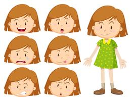 Liten flicka med många ansiktsuttryck vektor