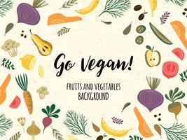 Vektor Teplate mit Gemüse und Obst. Veganes Konzept.