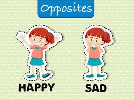 Gegenteiliges Wort glücklich und traurig