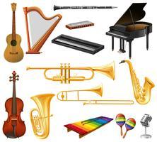 Verschiedene Arten von Musikinstrumenten vektor