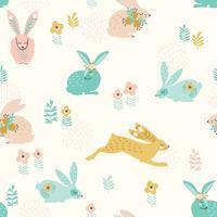 Vektor sömlöst mönster med kaniner för påsk och andra användare.
