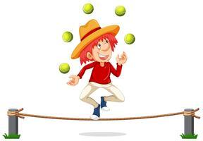 Ein Mann, der am Seil jongliert vektor