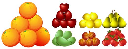 Staplar av olika typer av frukter vektor