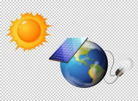 Diagramm, das Sonne und Solarzelle auf Erde zeigt