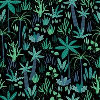 Seamless mönster med abstrakta tropiska växter. Vektor design.