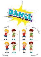 Eine Reihe von Teenager-Tanz vektor