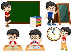 Schüler, der in der Schule verschiedene Aktionen durchführt vektor