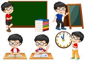 Skolbarn gör olika handlingar i skolan vektor
