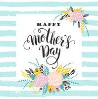 Glückliche Mutter-Tagesbeschriftungsgrußkarte mit Blumen.