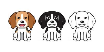 Vektor-Cartoon-Set von Beagle-Hund vektor