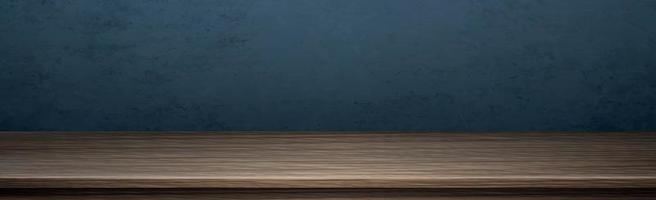 große Tischplatte aus dunklem Massivholz, dunkelblauer Hintergrund - Vektor