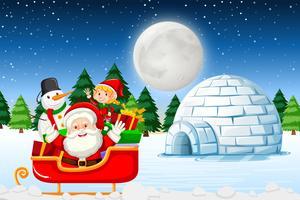 Santa på vinterlandskapet vektor
