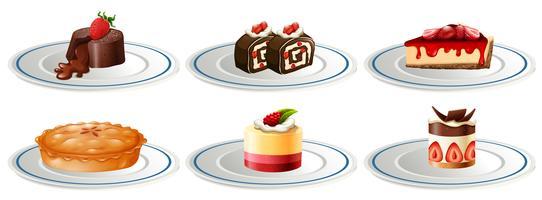 Olika typer av desserter på tallrikar vektor