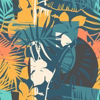 Seamless exotiskt mönster med tropiska växter och konstnärlig bakgrund.