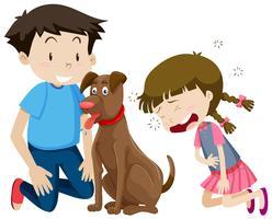 Pojke och tjej med hund vektor
