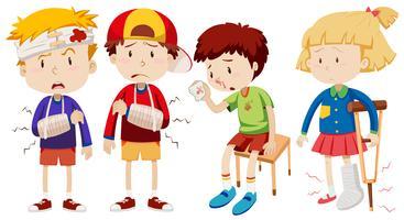 Jungen und Mädchen mit gebrochenen Knochen vektor