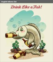 Trinken wie ein Fisch-Idiom vektor