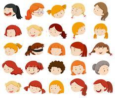 Mädchen und Frauen Gesichter vektor