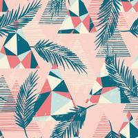 Trendiges nahtloses exotisches Muster mit Palme und geometrischen Elementen.