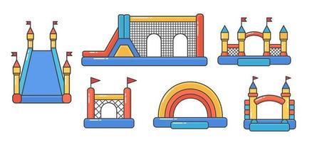 Reihe von Hüpfburgen. Turm und Ausrüstung für Kinder vektor