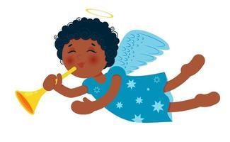 süßer kleiner Weihnachtsengel mit Trompete. afroamerikanisches Baby. vektor