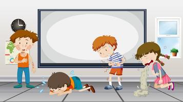 Pojkar och tjejer är sjuka i klassrummet vektor