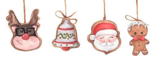 Satz Weihnachtslebkuchenplätzchen, die an Schnur hängen. vektor