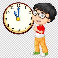 Junge, der Uhr auf transparentem Hintergrund betrachtet vektor