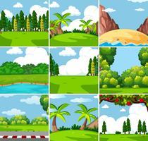 Nio olika utomhus natur scener