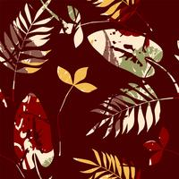 Abstraktes nahtloses Muster mit Blättern. Vektorhintergrund für verschiedene Oberfläche.
