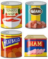 Fyra konserverad mat på vit bakgrund vektor