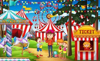 Människor har kul på cirkusen vektor