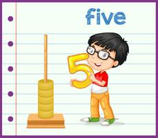 Boy holding nummer sju vektor