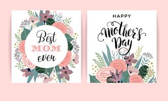 Glad mors dag. Vektor mall med blommor.