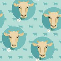 Nahtlose Illustration des modernen flachen Designs des Vektors der Kuh.