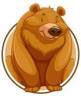 Grizzlybär auf Kreisfahne vektor